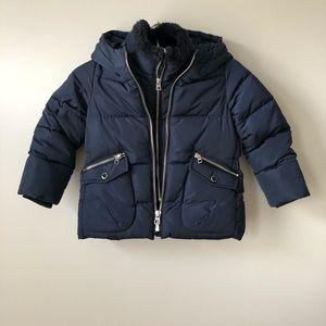 Zara Girls Puffer Winter Jacket Navy Size 5